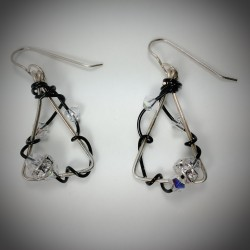 Silver and Black Triangle Earrings