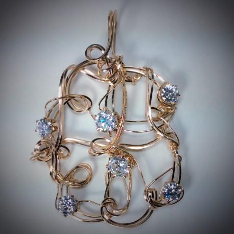14k Sculptured Clear CZ Pendant -1993