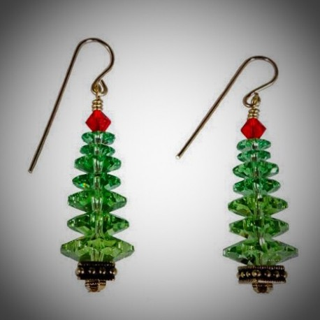 tree ambermoongallery jewelry swarovski handmade christmas beaded meylah earrings