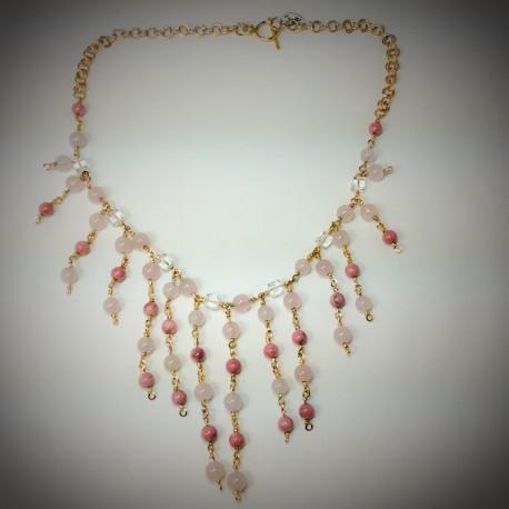 Rose Quartz, Rhodonite Swarovski Crystal Necklace