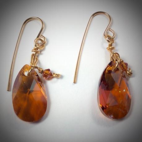 Swarovski Copper Crystal Earrings - 1846