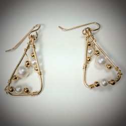 Gold Pearl Triangle Earrings - 1861