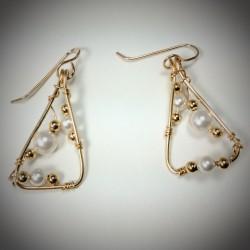 Gold Pearl Triangle Earrings - 1861