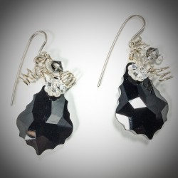Black Jet Baroque Earrings - 4723