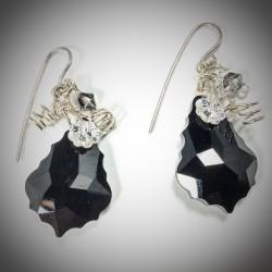 Black Jet Baroque Earrings - 4723