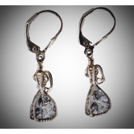 Silver Trillion CZ Earrings