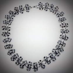 Black Silver Diamond Cut Necklace - 7619