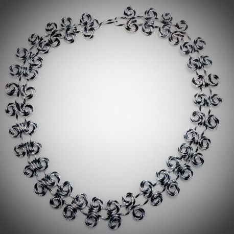 Black Silver Diamond Cut Necklace - 2173 - All Wired Up Jewelry