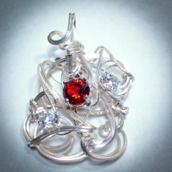 Sculptured Silver Ruby CZ Pendant - 2216