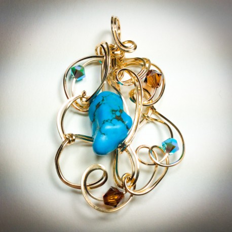 Gold Sculptured Turquoise Pendant- 2309-1