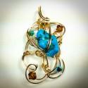 Gold Sculptured Turquise Pendant - 2309-2