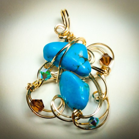 Gold Sculptured Turquoise Pendant - 2308