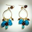 Gold Hobo Turquoise Earrings - 2307