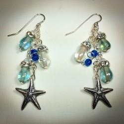 Blue and White Teardrop Starfish Earring - 2213