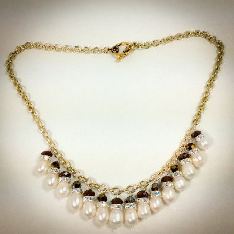 Gold Pearl Necklace - 2283