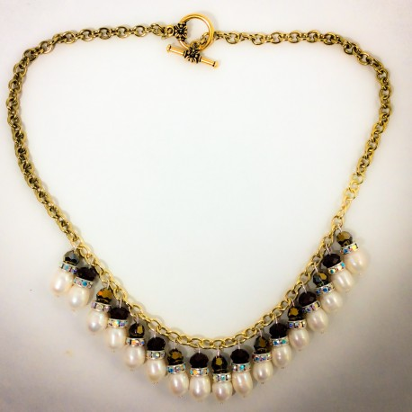 Gold Pearl Necklace - 2282