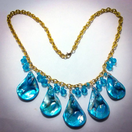 Blue Ceramic Abalone Necklace - 2286