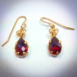 Red Topaz Earring - 2287