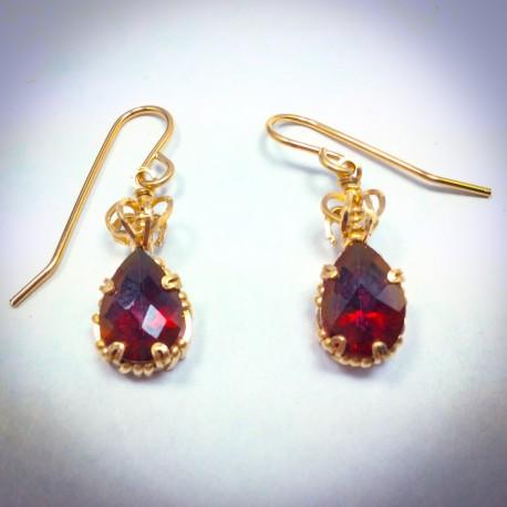Red Topaz Earring - 2287
