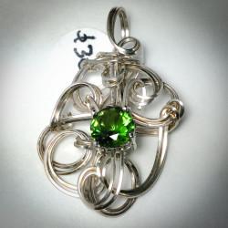 Silver Sculptured Emerald CZ Pendant - 2327