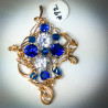 Royal Blue and Clear CZ Pendant - 2254