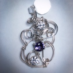 Silver Pendant and Amethyst CZ -2346