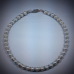 White Glass Pearl Necklace - 2372