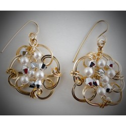 Gold Diamonds and Pearls Earrings